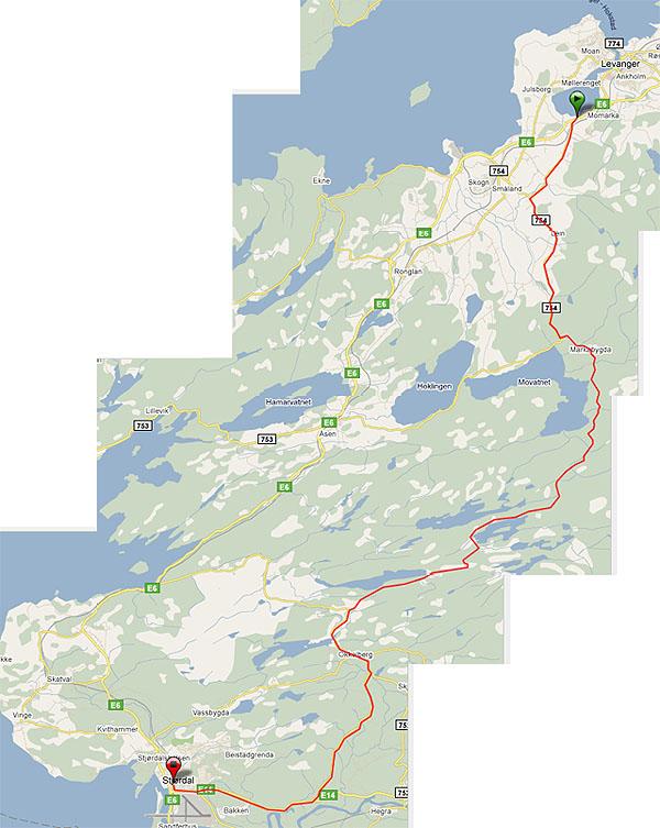 Alternativ rute fra Levanger til Stjørdal (eller motsatt)