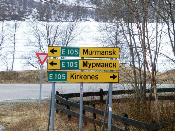 Veiskilt mot Murmansk