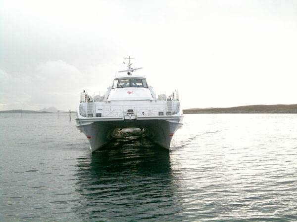 Hurtigbåten fra Træna går klokken 0630 på morgenen.
