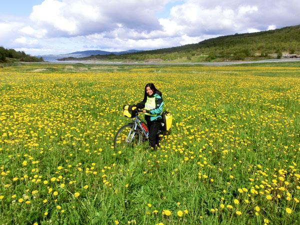 Blomsterpiken Maggie i en blomstereng på veien mot Bodø.