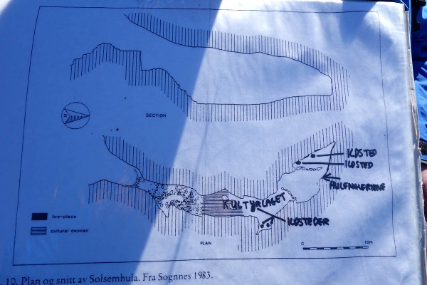 Kart over hulen sett i tverrsnitt fra siden og ovenfra