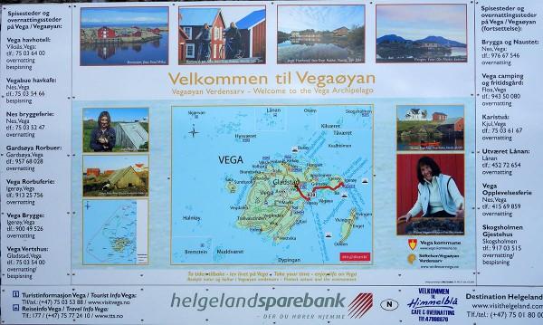 Informasjonstavle om Vega på fergeleiet