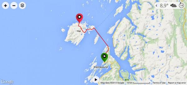 Dagens rute. Klikk på bildet for å se GPS-data med høydekurver m.m. på Garmin Connect.