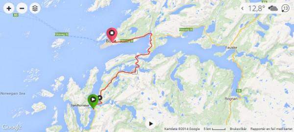 Klikk på bildet for å se GPS data med høydekurver for strekningen
