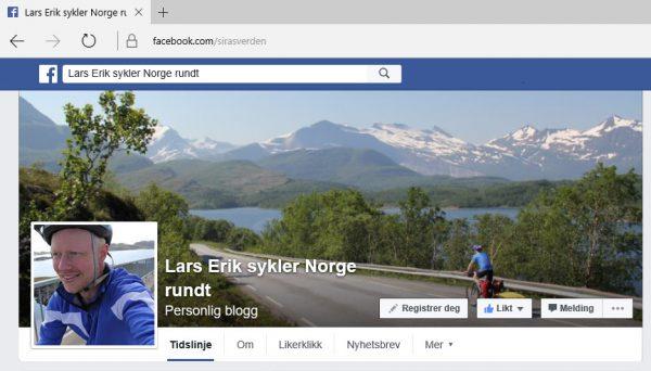 Facebooksiden som Lars Erik har satt opp. Her kan du også følge turen hans rundt i Norge i sommer. Bare klikk på bildet.