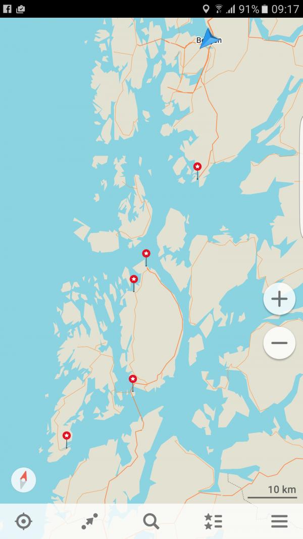 Første del av ruten fra Bergen til Haugesund.
