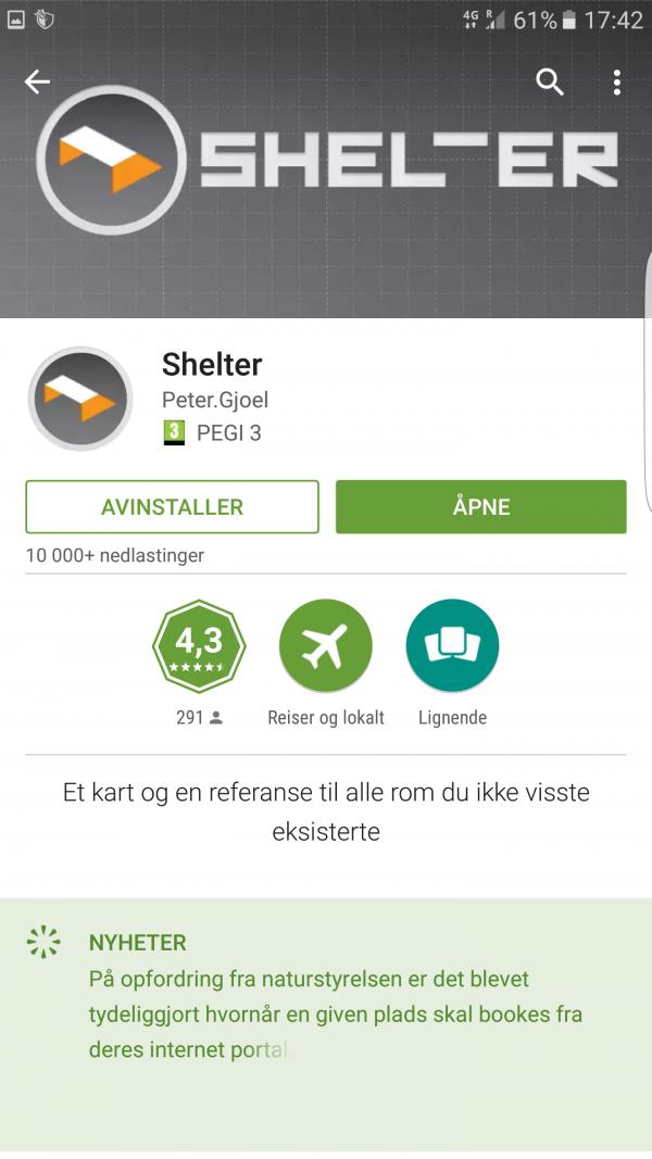 """I Appen """"Shelter"""" finner man alle de primitive overnattingssteder i Danmark."""